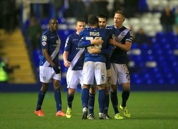 Birmingham City's David Davis celebrates with team-mates after the final whistle of the Sky Bet Championship match at St Andrews, Birmingham