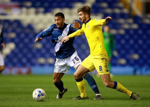 Birmingham City's David Davis (left) and Leeds United's Luke Murphy battle for the ball