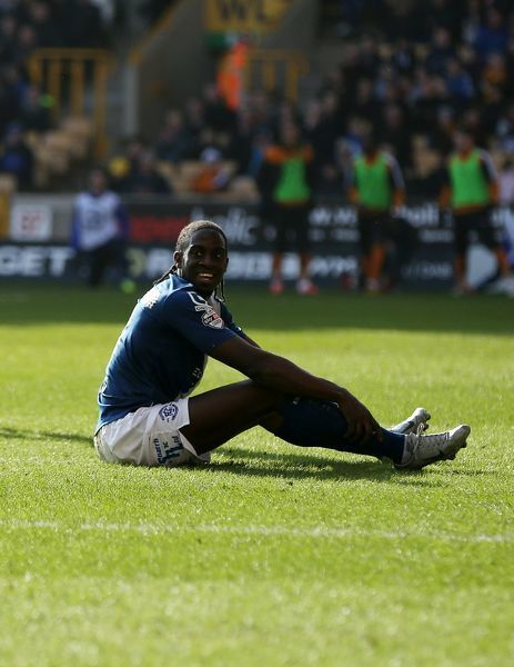 Birmingham's Clayton Donaldson reacts after a challenge by Wolves' Matt Doherty in the box during the Sky Bet Championship match at Molineux, Wolverhampton