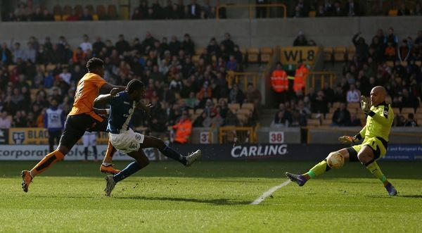 Birmingham's Clayton Donaldson has a shot on goal during the Sky Bet Championship match at Molineux, Wolverhampton