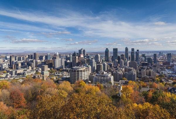Canada, Quebec, Montreal. Elevated city skyline from Mount Royal