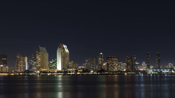 City lights of San Diego, California