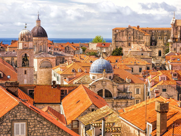 Croatia, Dubrovnik. Red roofs and domes of the old city