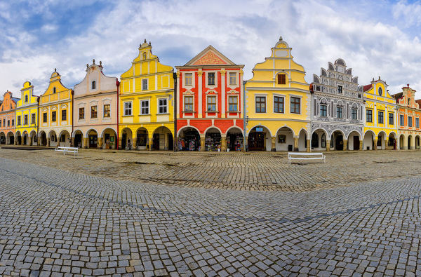 Czech Republic, Telc. Panoramic of colorful houses on main #19312917