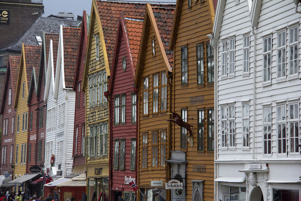 Europe, Norway, Bergen. Warehouse architecture of Bryggen, a UNESCO World Heritage Site