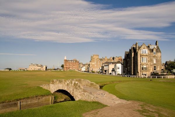 Golfing the special Swilcan Bridge on the 18th hole at the world famous St Andrews