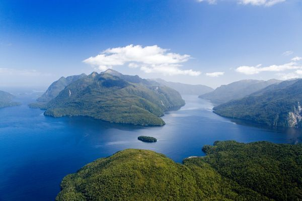 Secretary Island (centre), Doubtful Sound (left), Thompson Sound (right), Fiordland National Park, South Island, New Zealand - aerial