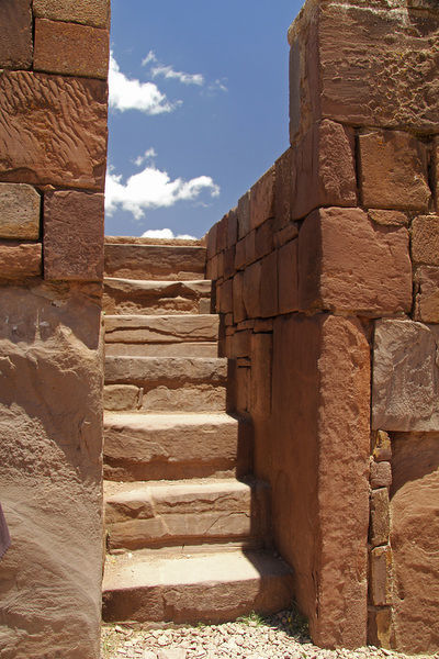 South America, Bolivia, Tiwanaku. Kalasasaya Temple Wall and Steps at Pre-Columbian archaeological site of Tiwanaku, a UNESCO World Heritage Site