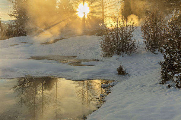 Sunrise greets Grassy Spring at Mammoth Hot Springs in Yellowstone National Park, Wyoming, USA