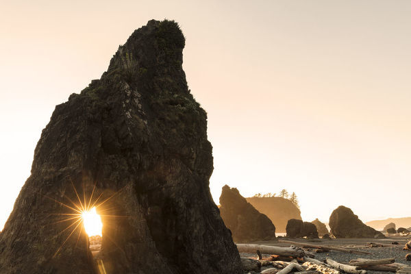 Sunset along sea stacks on Ruby Beach in Olympic National Park, Washington, USA
