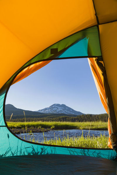 View through Tent, South Sister (Elevation 10, 358 ft.) Sparks Lake, Three Sisters Wilderness