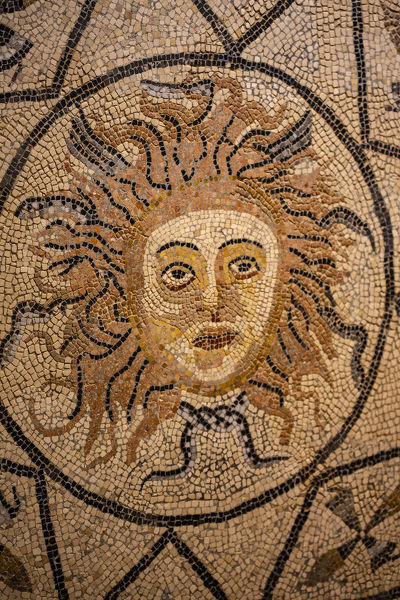 Volubilis, Morocco, Ancient Roman city, sun face mosaic tile