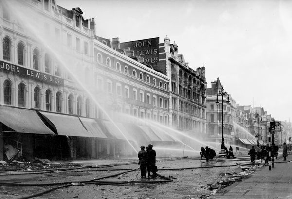 blitz on london oxford street ww2 fire crews using radial