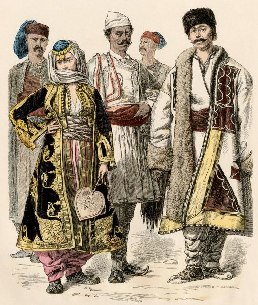 People from the Balkan states, a Bulgarian man at right.   Antique hand-colored print