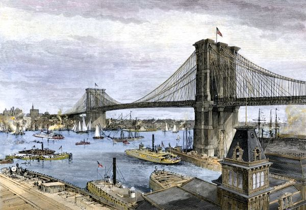 Image result for the brooklyn bridge in 1883