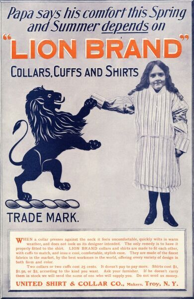 Ad for Lion Brand shirts, collars, and cuffs for men, 1901. Printed color halftone