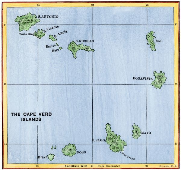 Cape Verde Islands map - Map of the Cape Verde Islands in the ...