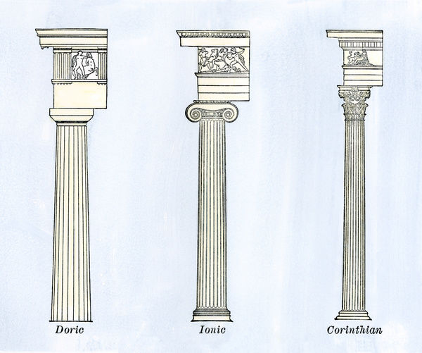 classical styles of columns doric ionic and corinthian architecture hand colored