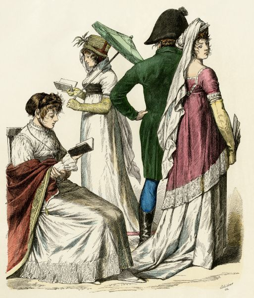 European ladies reading and a couple walking during the early French Empire period, 1802 to 1804. Antique hand-colored print