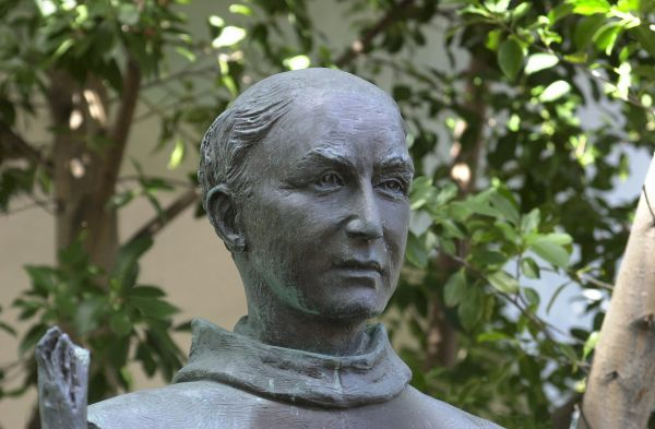 Statue of Father Junipero Serra, Spanish Franciscan missionary to California, San Diego Mission. Digital photograph