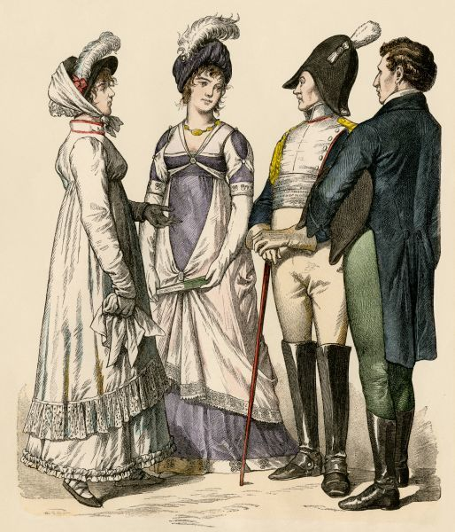 Fashionable Europeans under the French Empire, 1809 to 1812. Antique hand-colored print