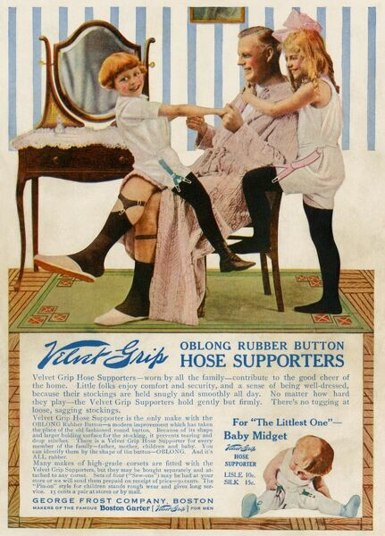 Father with his children in an advertisement for garters, 1916. Color halftone