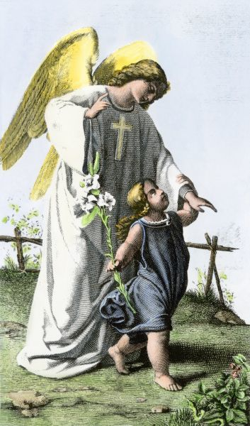 Guardian angel watching over a child. Hand-colored engraving of a 19th-century illustration