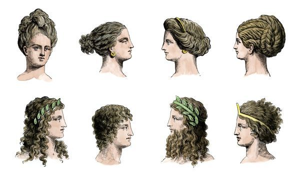 Ancient Greek hairstyles of women (top row) and men (bottom row). Hand-colored woodcut of a 19th-century illustration