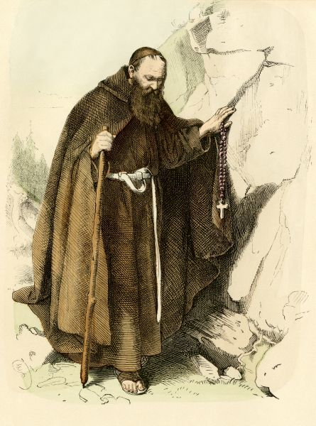 Medieval hermit monk living a life of self-deprivation. Antique hand-colored print
