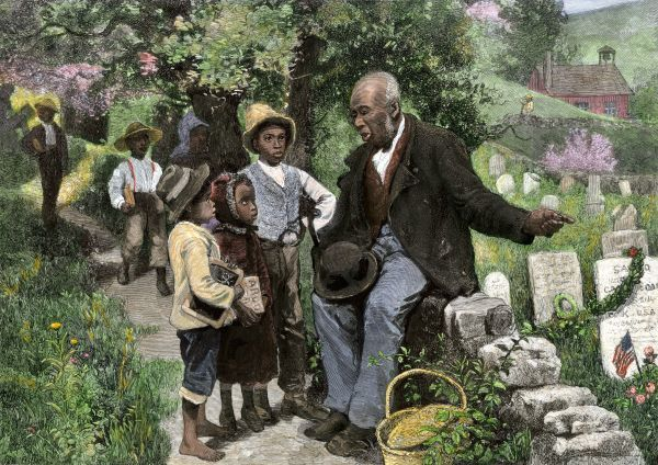 African-American veteran giving children a history lesson on Decoration Day, 1881. Hand-colored woodcut of a 19th-century illustration