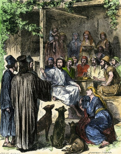 Jesus eating with sinners and tax-collectors in Jerusalem. Hand-colored woodcut of a 19th-century illustration