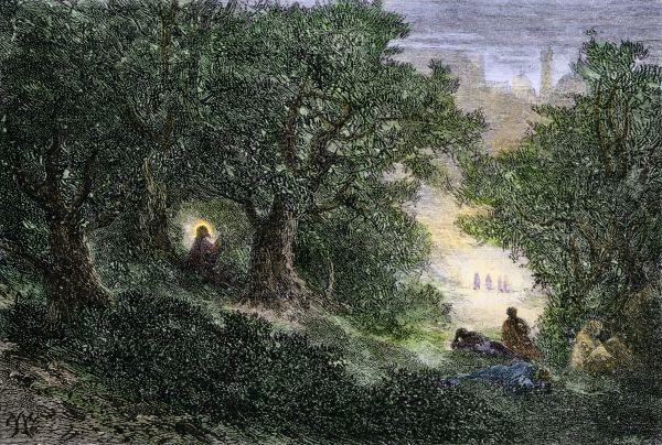 Jesus praying in the Garden of Gethsemane before his arrest. Hand-colored woodcut of a 19th-century illustration