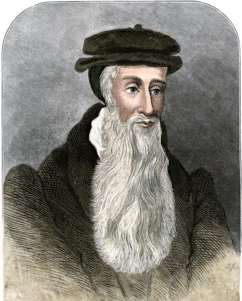 John Knox. Religious reformer John Knox.Hand-colored engraving