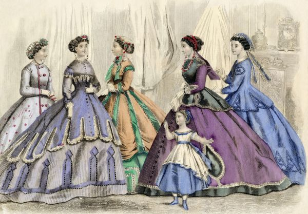Godey's ladies' fashions for fall, 1866. Printed color lithograph of a 19th-century illustration