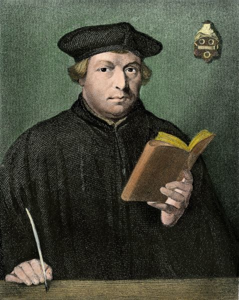 Martin Luther portrait.Hand-colored engraving reproduction of a portrait by Holbein