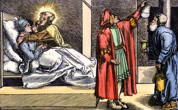 Attempt to cure disease through the intercession of a saint, Middle Ages. Hand-colored 19th-century woodcut reproduction of a medieval illustration