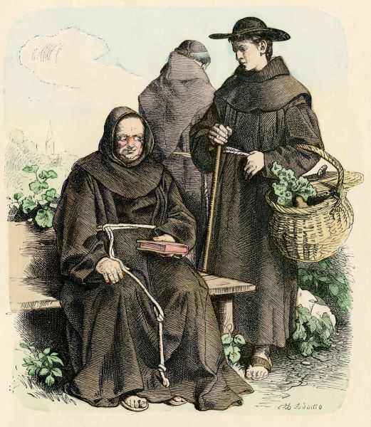 Franciscan monks in their vegetable garden during the Middle Ages. Antique hand-colored print