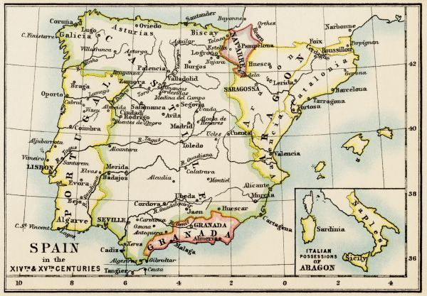 Medieval Spain And Portugal Map Map Of The Iberian Peninsula In - Portugal map iberian peninsula