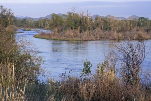 Missouri River headwaters, discovered by Lewis and Clark, Three Forks, Montana. Photograph