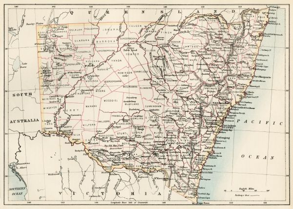 map of new south wales australia 1870s color lithograph reproduction of a 19th