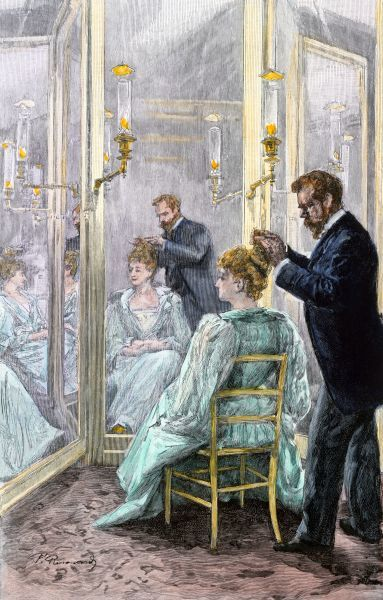 Lady in a hair salon in Paris, 1890s. Hand-colored woodcut of a 19th-century illustration