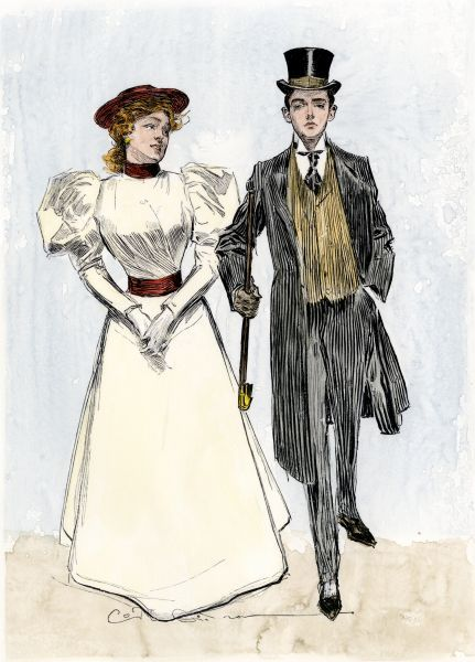 Young society couple, 1890s. Hand-colored woodcut of a 19th-century Charles Dana Gibson illustration
