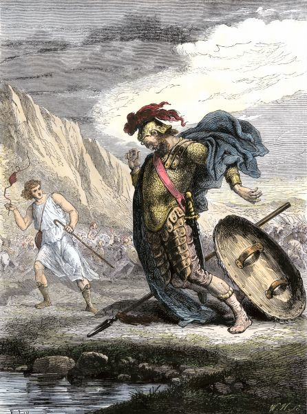 David using his slingshot to defeat the Philistine's giant warrior, Goliath. Hand-colored woodcut of a 19th-century illustration