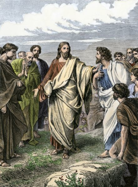 Jesus choosing the Apostles. Hand-colored woodcut of a 19th-century illustration
