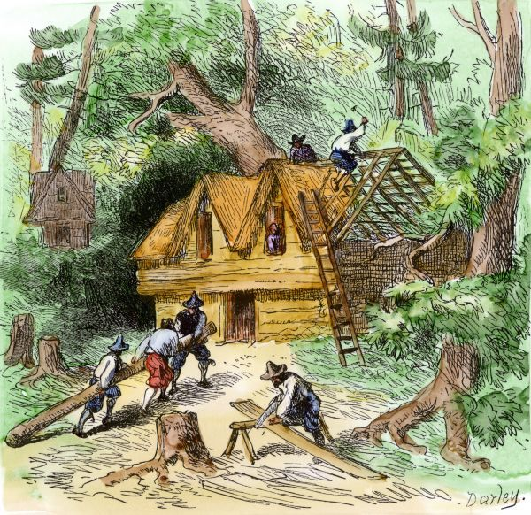 Plymouth colonists building homes pilgrims building for Building a house in ma
