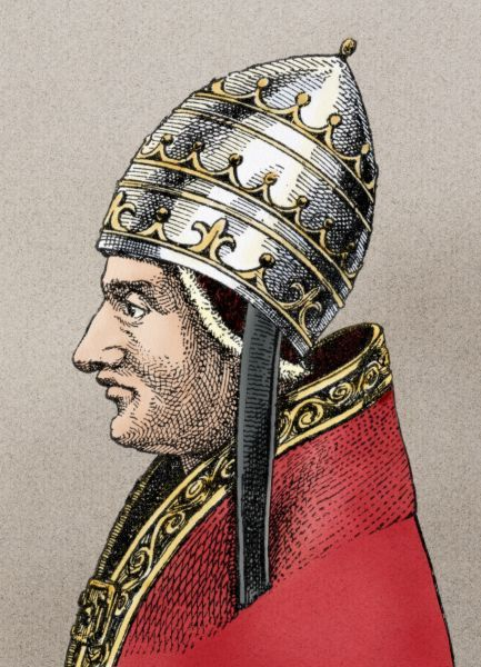 Pope Innocent III. Portrait of Pope Innocent III.Digitally colored woodcut