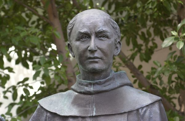 Statue of Father Junipero Serra, Spanish Franciscan missionary, San Diego Mission.  Digital photograph