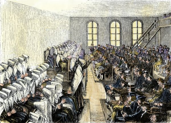 Society of Friends (Quaker) meeting-house in Philadelphia, 1800s. Hand-colored woodcut of a 19th-century illustration