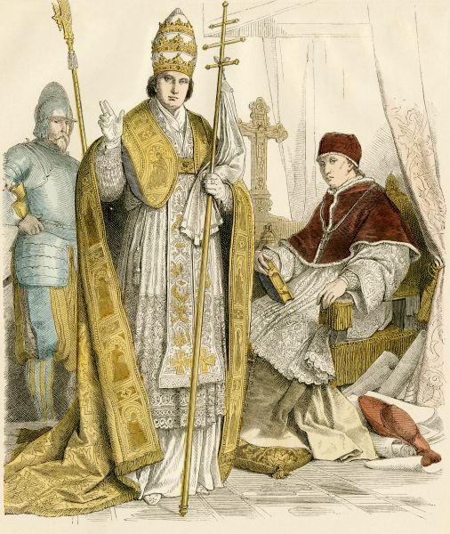 Roman Catholic Pope in formal attire (center) and in house vestments (right), Swiss Guard at left, 1500s-1600s Antique hand-colored print