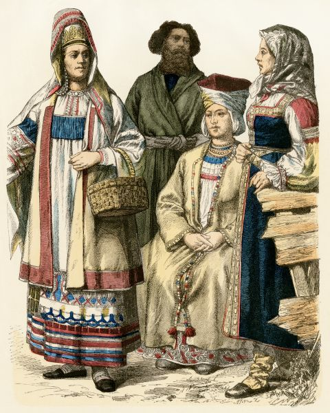 Russian women from the Ryazan region (left) and St Petersburg (right), and a Finnish woman (seated). Antique hand-colored print